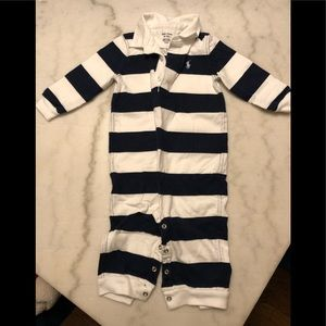 Blue and white infant Polo one piece